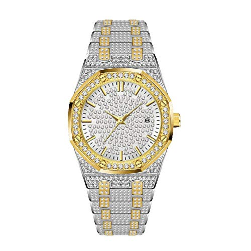 Men's Diamond Watches Hip Hop Full Stone Metal Band Watch Silver Gold Plated Stainless Steel Wristwatch Iced Out Watch for Women