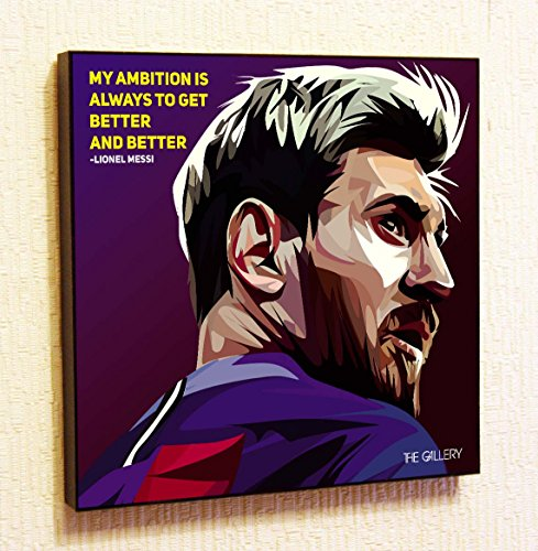(Lionel Messi #2 Soccer Football Fifa Barcelona Framed Poster Pop Art for Decor with Motivational Quotes Printed (10x10