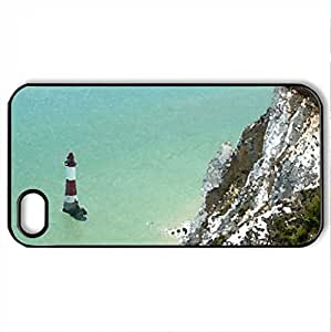 Beachy Head 1 - Case Cover for iPhone 4 and 4s (Lighthouses Series, Watercolor style, Black)