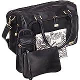 Best Designer Tote Style Baby Diaper Bags - Isoki Double Zip Black Large Baby Diaper Bag Review