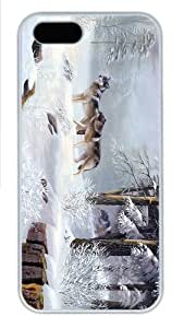 new case winter wolves art PC White Case for iphone 5/5S