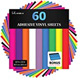 "Kassa Permanent Adhesive Vinyl Sheets (Pack of 60 - 12"" x 12"") - Includes Bonus Squeegee - Assorted Colors (Matte & Glossy) - Works with Craft Cutters such as Cricut, Silhouette Cameo - Outdoor Decal"