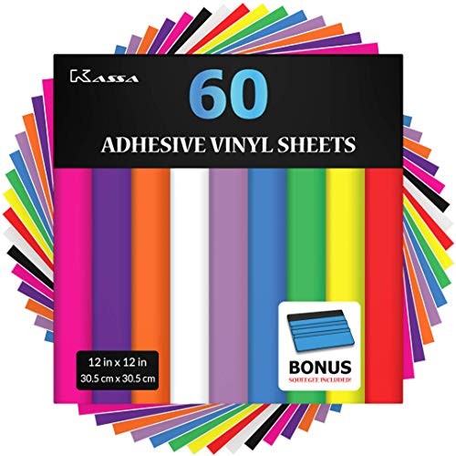 """- Kassa Permanent Adhesive Vinyl Sheets (Pack of 60 - 12"""" x 12"""") - Includes Bonus Squeegee - Assorted Colors (Matte & Glossy) - Works with Craft Cutters such as Cricut, Silhouette Cameo - Outdoor Decal"""