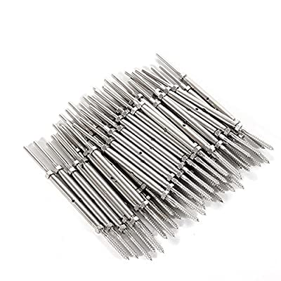 "50 PCS T316 Stainless Steel Hand Swage Tensioner for Cable Railing Lag Screw 1/8"" Cable Wire"