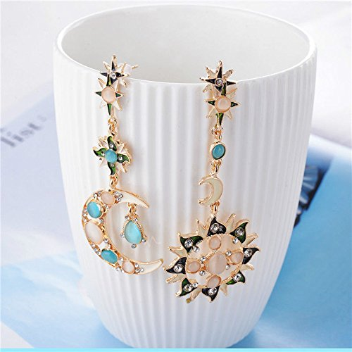 1set Earrings Stud Gold Blue Purple Crystal Moon Star Sun Asymmetric Pendant Retro AF0M