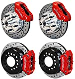 "NEW WILWOOD DISC BRAKE KIT, 11"" DRILLED ROTORS, RED 4 PISTON CALIPERS, HUBS, LINES, FITTINGS, 67-69 CAMARO / FIREBIRD & 64-72 GM A-BODY CHEVELLE EL CAMINO MALIBU SKYLARK CUTLASS 442 F85 GTO LEMANS"
