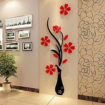 wall murals-vaso da fiori in 3d, per soggiorno, camera da letto ... - Camera Da Letto Con Tv