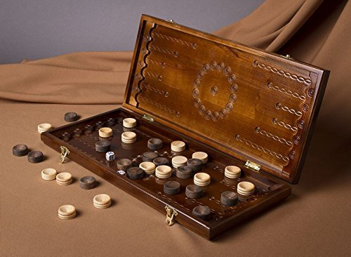 A Set of Brown Handmade Wooden Backgammon Board Game with Accessories -Portable Travel Folding Carved Suitcase with Playing Pieces by Madeheart