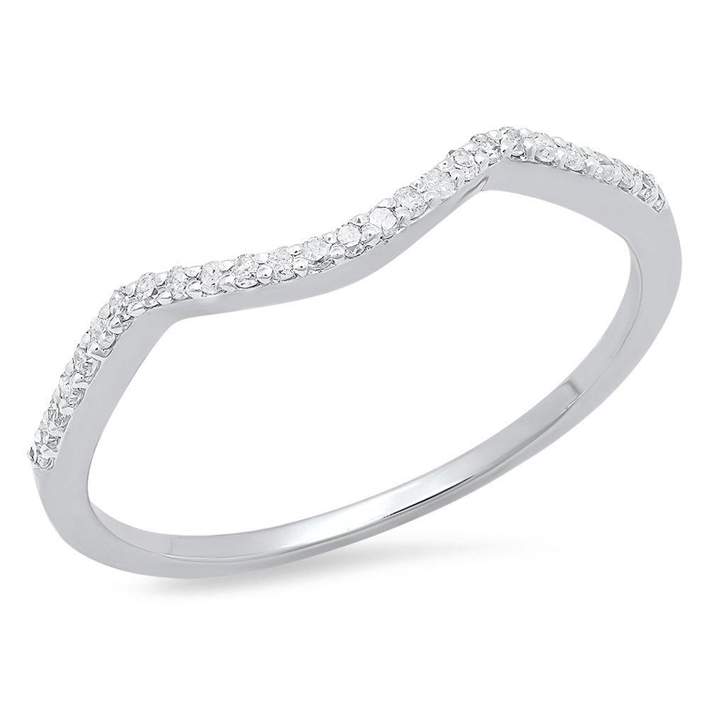 Dazzlingrock Collection 0.12 Carat (ctw) 14K Round Cut Diamond Ladies Wedding Band Contour Guard Ring, White Gold, Size 6