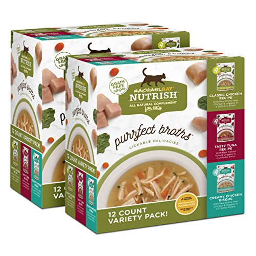 Rachael Ray Nutrish Purrfect Broths Grain Free Variety Pack, All Natural Complement for Cats, Pack of 24