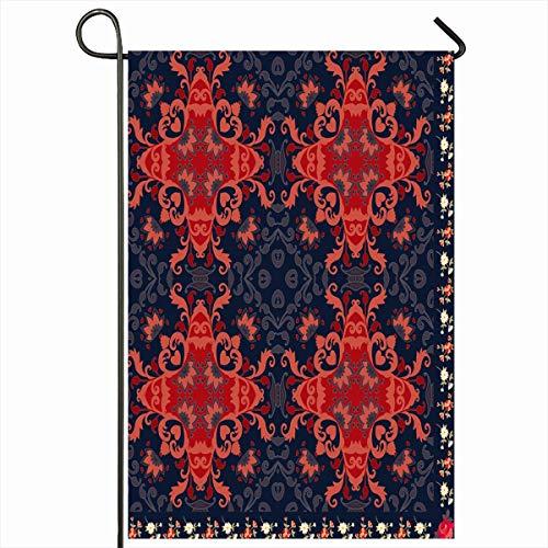 Ahawoso Outdoor Garden Flag 12x18 Inches Ornate African Quarter Folk Shaw Carpet Abstract Flower Bandana Bandanna Batik Border Doily Design Two Sides Seasonal Home Decor House Yard Sign Banner
