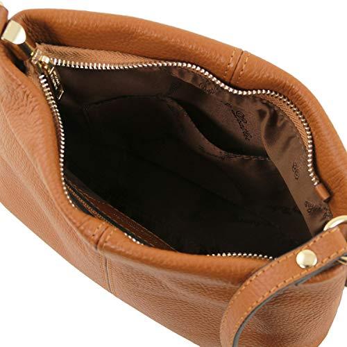 foncé bandoulière en cuir en Leather Cognac Tl141720 souple bleu Toscane Tlbag Sac WUq4A