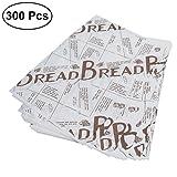 BESTONZON 300pcs Disposable Food Paper Oil-Proof Snacks Cookie Baking Paper Sheets Hamburger Sandwich Food Paper (Coffee)