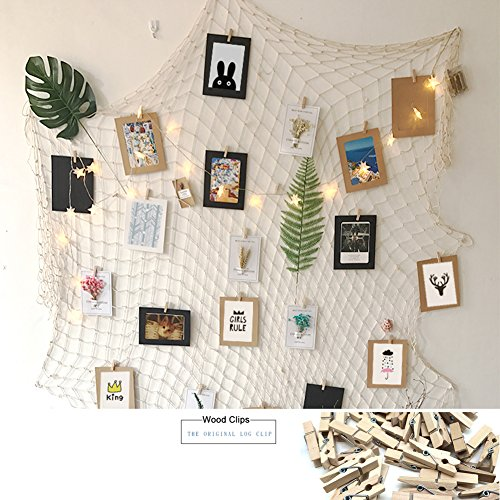 Collage Wall Art Set (DIY Fishing Net Photo Picture Frame Collage Sets for Wall Decor 40 x 79 inch with 40 Clips - Collage Artworks Prints Multi Pictures Hanging Display Frames - Perfect Wall Decor Christmas Decorations)