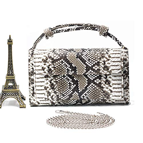 Clutch Fashion Bag Genuine Leather Shoulder Bag Flap Evening Clutch Snake Skin Crossbody Hand Bags,Python Black