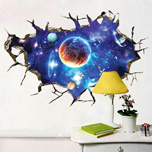 new 3d interstellar space view wall stickers suppion removable pvc art room decals murals home decoration 23623543 - Cool Room Decorations