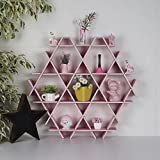 LaModaHome Cardboard Shelf 100% Corrugated Cardboard (27.6'' x 26.4'' x 4.3'') Pink Triangle Hexagon Decorative Design Pretty Storage Shelf Multi Purpose