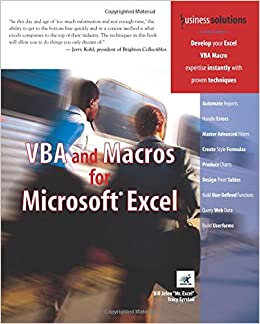 VBA and Macros for Microsoft Excel (Business Solutions): Amazon co