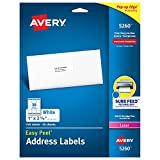 "Avery Address Labels with Sure Feed for Laser Printers, 1"" x 2-5/8"", 750 Labels – Great for FBA Labels (5260), White"