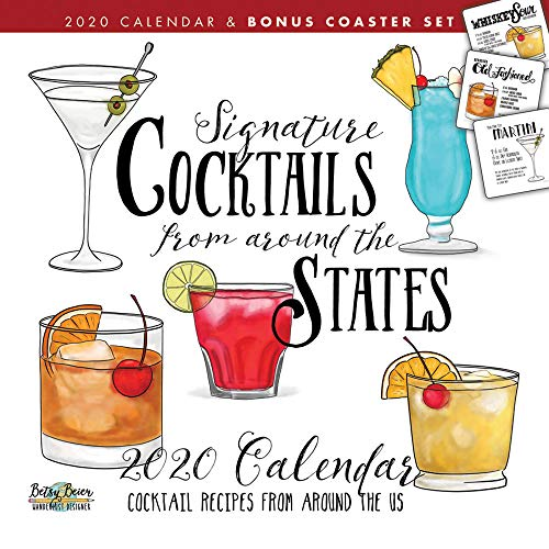 Cocktails 2020 12 x 12 Inch Monthly Square Wall Calendar and Coaster Set by Hopper Studios, Alcohol Mixed Drink Beverage by Hopper Studios, BrownTrout Publishers Inc.
