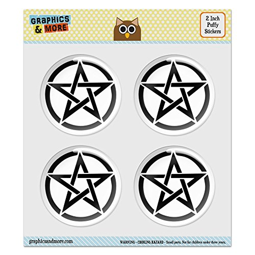 Puffy Bubble Dome Scrapbooking Crafting Stickers - Pentagram Pentangle Star Wiccan Witch - Set of 4-2.0