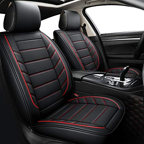 Seat Covers fit Car Suv Truck fit for Ford Focus Fusion Fiesta Ecosport Explorer Edge Jeep Renegade Liberty Patriot Compass Grand Cherokee (Full Set, Black and Red)