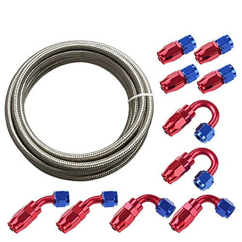 SUNROAD 8AN 20Ft Universal Braided Oil Fuel Line Hose Stainless Steel Nylon with 10PC Swivel Fitting Hose Ends Adapter Kit-Silver