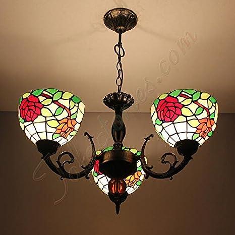 Continental Retro rosas Tiffany creativo lámparas de techo ...