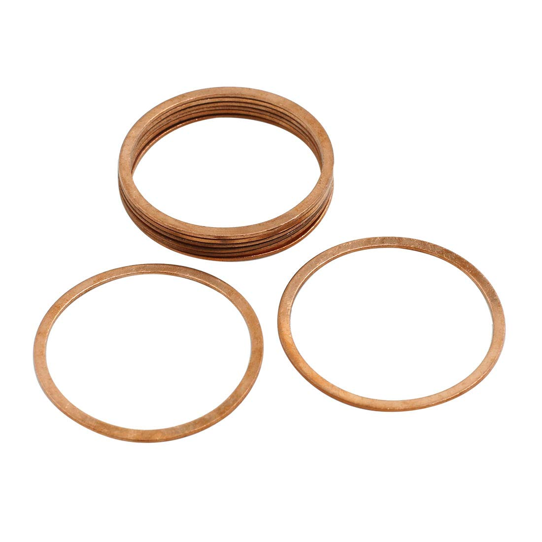 X AUTOHAUX 8 Pcs 40mm Inner Dia Copper Washers Flat Sealing Gasket Rings for Car
