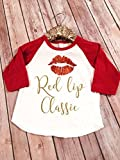 Red Lip Classic Red Sparkle Red Raglan Tee, Girls Raglan tee, Girls Red Lip Classic Shirt, Toddler Red lip Classic Shirt, Red raglan tee