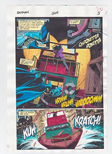 BATMAN #504 PAGE 3 ORIGINAL COMIC PRODUCTION ART COLOR GUIDE CODE FREE CATWOMAN