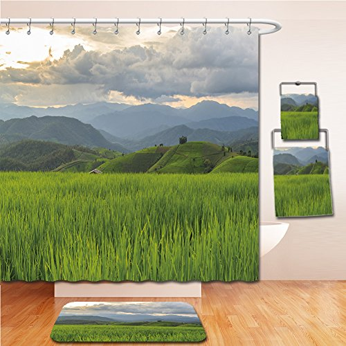 LiczHome Bath Suit: Showercurtain Bathrug Bathtowel Handtowel Green Terraced Rice Field in Pa Pong Pieng , Mae Chaem, Chiang Mai, Thailand
