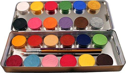 Eulenspiegel 224007 - Schminkset Profi Make-up, Schminkpalette aus Metall mit 3 Profipinsel, 24 Farben