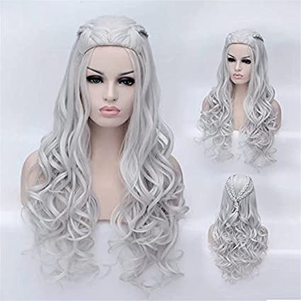 COSPLAZA Peluca Postizos Women Long Wavy Curly Heat Resistant Synthetic Hair Comic Cons Cosplay Wigs (Silver): Amazon.es: Belleza