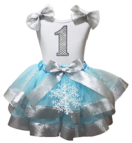 Birthday Dress Silver 1st White Shirt Blue Petal Skirt Snowflake Costume Nb-8y (1-3 Years) (Snow White Family Costumes)