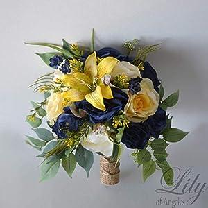 Wedding Bouquet, Bridal Bouquet, Bridesmaid Bouquet, Silk Flower Bouquet, Wedding Flower, Yellow, Sunflower, mini Sunflower, navy blue, blue, dark blue, navy, burlap, rustic, greenery, Lily of Angeles 15