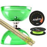 Juggle Dream Green Cyclone Quartz 2 Diabolo Set w/ Wooden Diablo Sticks & Accelerate Diabolo String