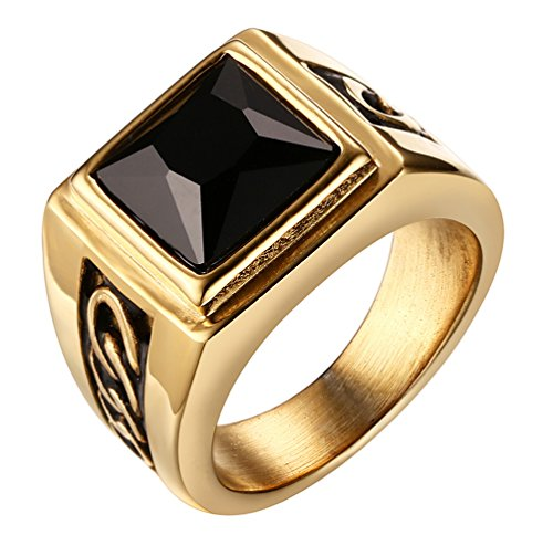 [ALEXTINA Men's 11MM Stainless Steel Ring with Black Agate Stone Gold Size 9] (In Stock Hip Hop Costumes)