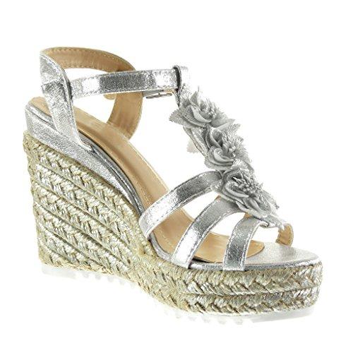 Compensé Lanière cm Plateforme Plateforme Brillant Argent Mode Angkorly Corde Fleurs Chaussure Femme 5 Sandale Mule 11 Talon Cheville OSaS7wWqIA