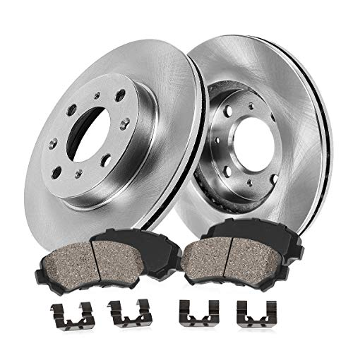 FRONT 215 mm Premium OE 4 Lug [2] Brake Disc Rotors + [4] Ceramic Brake Pads + Hardware