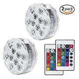 KiBlue Submersible Lights Underwater 10-LED Reusable light, RGB Multi Color Waterproof Remote Control Battery Powered Pool Lights Fountain Pool, Wedding Pond (2 Pack)