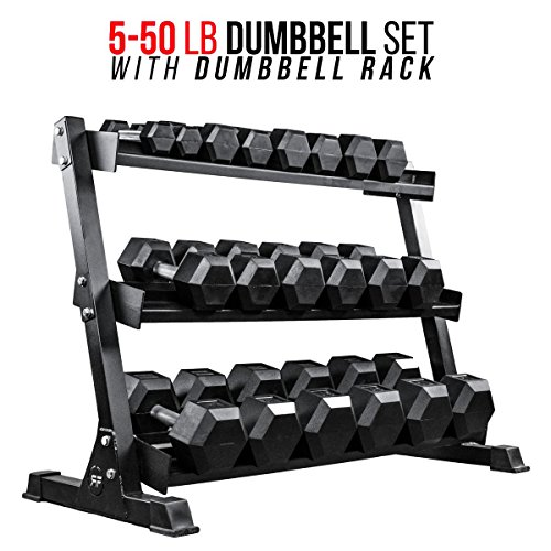 Rep Rubber Hex Dumbbell Set with Racks, 5-50 Dumbbell Set with 1 Rack, 5-75 Dumbbell Set with 2 Racks, or 5-100 Dumbbell Set with 2 Racks
