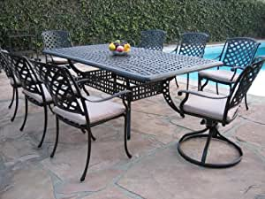Cast Aluminum Outdoor Patio Furniture 9 Piece Dining Set DS-ML8444TR with 2 Swivel Rockers CBM1290