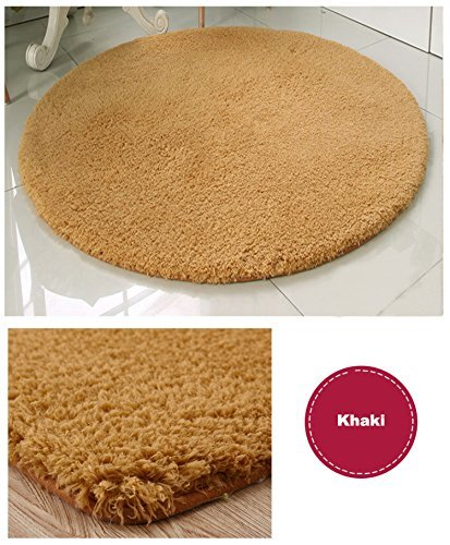 Super Soft Khaki Round Area Rug Kids Rugs Artic Velvet Mat with Plush and Fluff for Bedroom Floor Bathroom Pets Home Hotel Mat Rug (6' Round, Khaki)