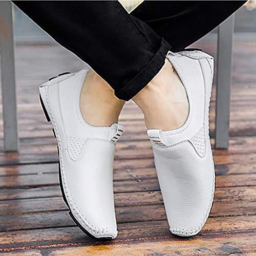 Hombres De Yuan Los Perezosos Zapatos Ocasionales White Mocasines Planos Conducción vwqa4X