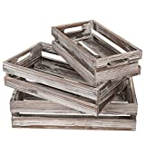 MyGift Set of 3 Nesting Torched Wood Storage Crates