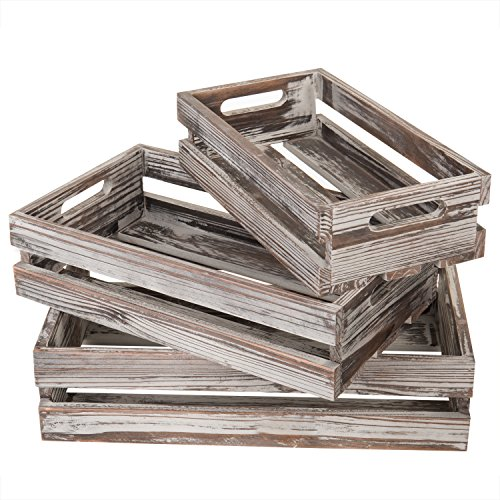 (MyGift Country Rustic Nesting Torched Wood Storage Crates with Handles, Set of)