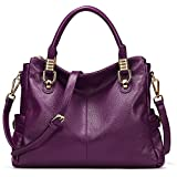 Image of BIG SALE-AINIMOER Womens Genuine Leather Vintage Tote Shoulder Bag Top-handle Crossbody Handbags Large Capacity Ladies' Purse (Purple)