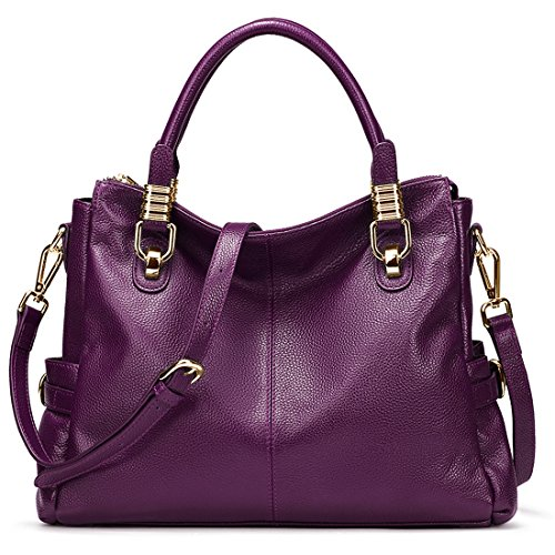 - AINIMOER Womens Genuine Leather Vintage Tote Shoulder Bag Top-handle Crossbody Handbags Large Capacity Ladies' Purse (Purple)