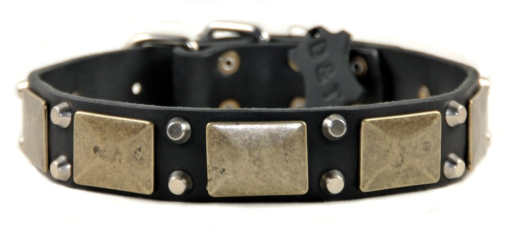 Dean and Tyler  THE ANTIQUE  Dog Collar Nickel Hardware Black Size 41cm x 4cm Width. Fits neck size 14 Inches to 18 Inches.